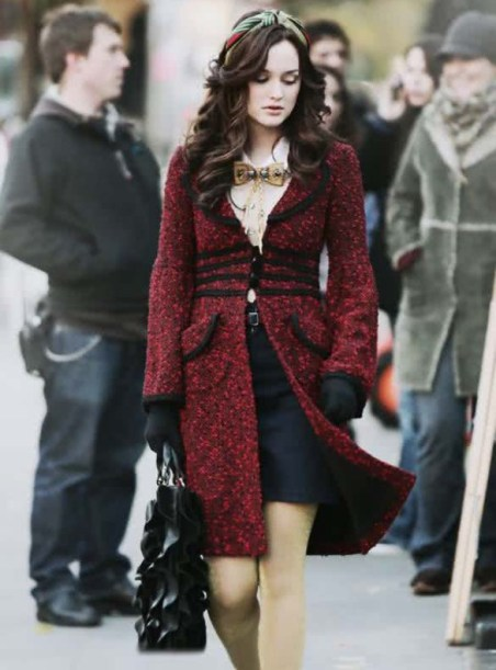 blair waldorf fashion and style red coat bella king advice