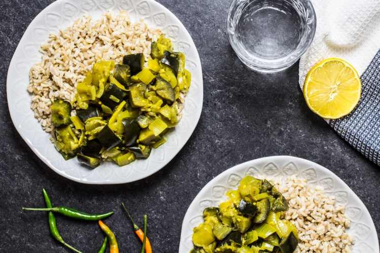 Sri Lankan Coconut Aubergine Curry. Recipe and Food Photography by Shika Finnemore, The Bellephant.