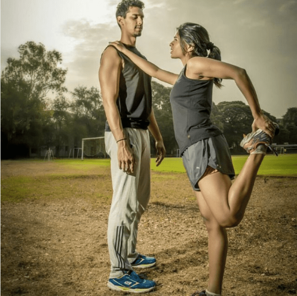 Protima Tiwary works out with her partner