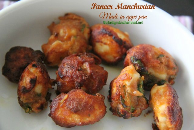 Paneer Manchurian made in Appe pan