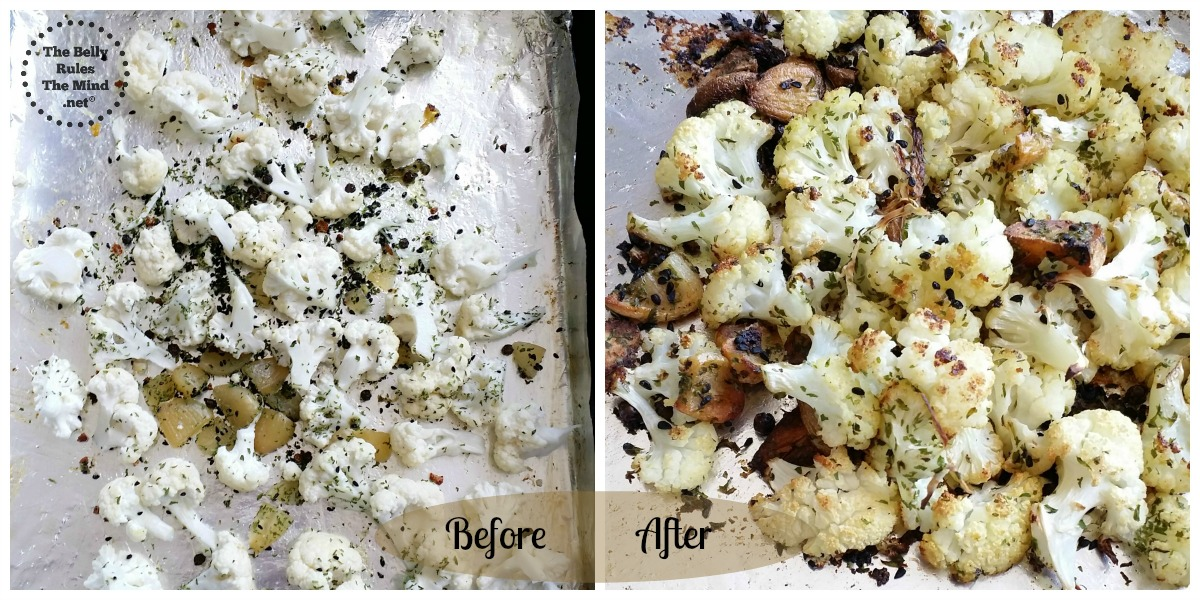 Roasting the cauliflower