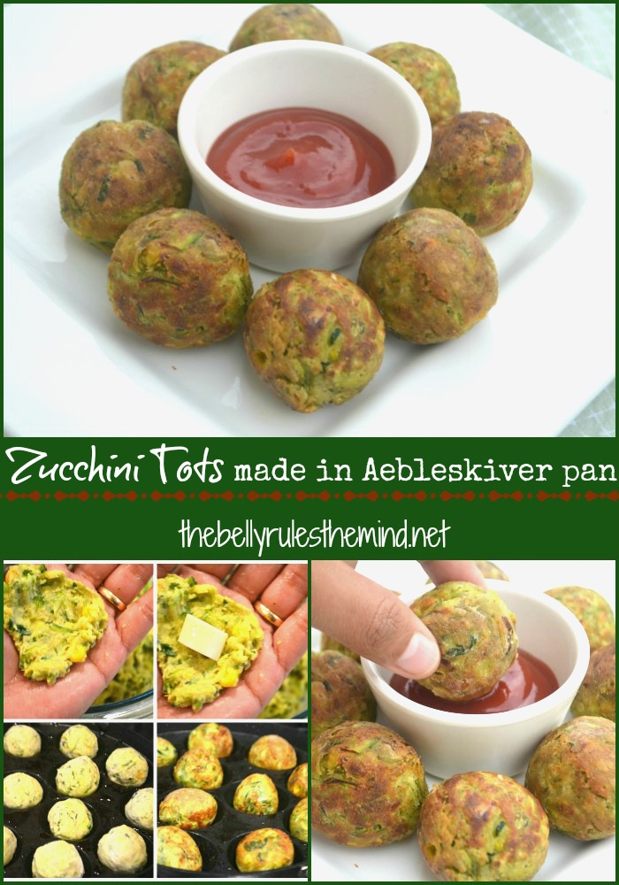 Zucchini tots in Aebleskiver pan