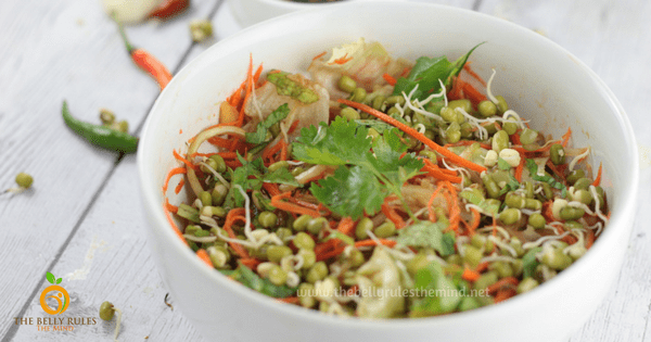 Healthy Mung Sprout Salad with 5 Minute Asian Dressing