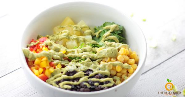 Southwest Chipotle Salad with Avocado Cilantro Dressing