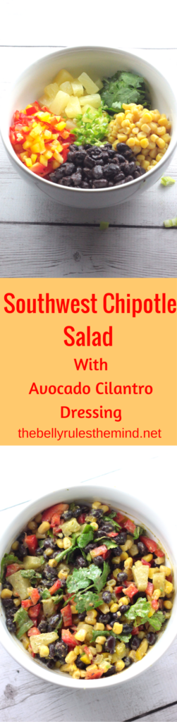 Tex Mex Salad with cilantro yogurt dressing