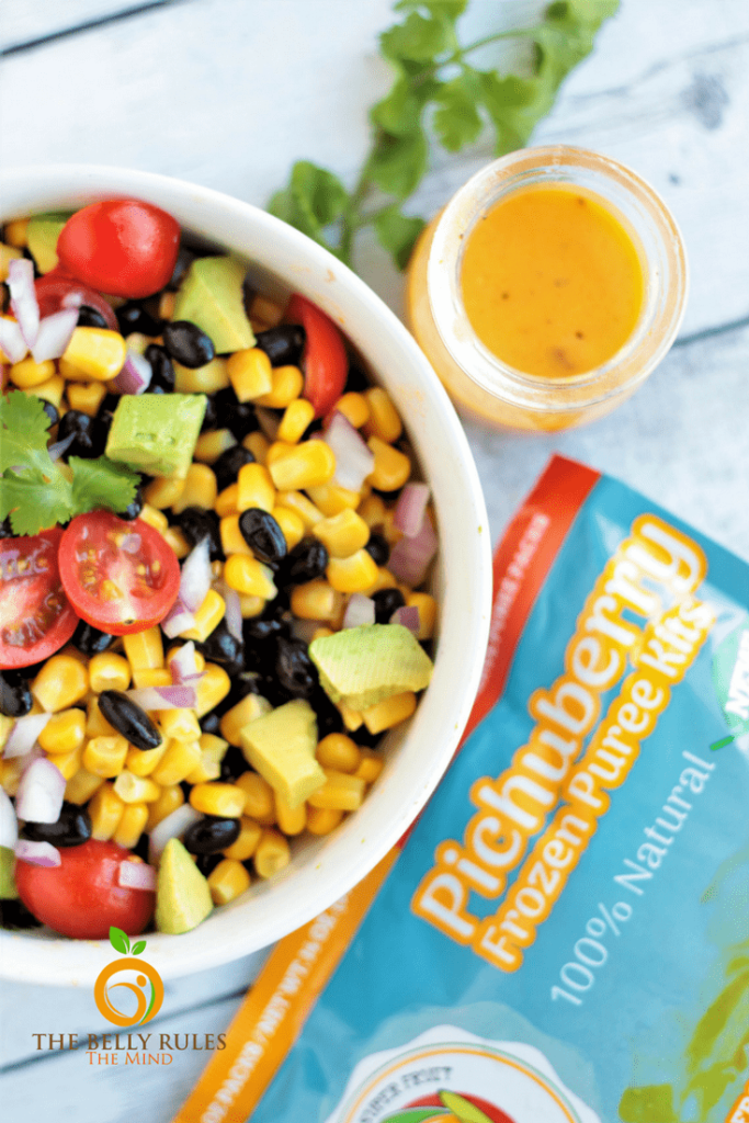 You are going to love this Black Bean Corn Salad recipe with Pichuberry Dressing. It's quick & easy and can be enjoyed as is, or serve it as a party appetizer or even makes a perfect lunch or dinner option. Vegan. Gluten-Free. https://www.thebellyrulesthemind.net