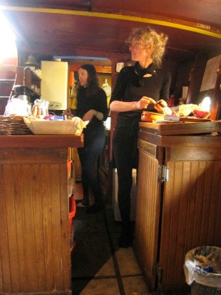 Sarah and Liz making lunch in the galley - which is much tinier than it looks here!