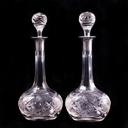 French Silver Mounted Decanters
