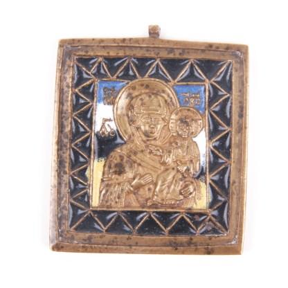 Small Russian brass plaquette icon