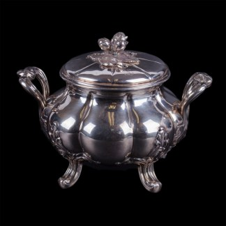 Elegant French silver sugar bowl. Marked Alphonse Debain