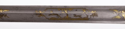 Extremely Rare French Gilded Damascus Hunting Knife in silver mounting belonged to the Earl