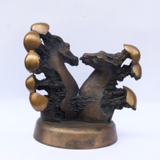 "Rare Latvian Bronze Sculpture ""Horse Lovers"""