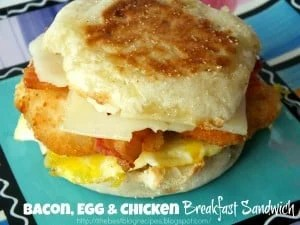 Bacon, Egg & Chicken Breakfast Sandwich recipe from {The Best Blog Recipes}