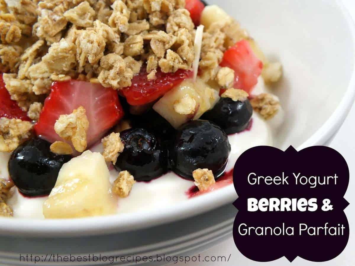 Greek Yogurt, Berries & Granola Parfait