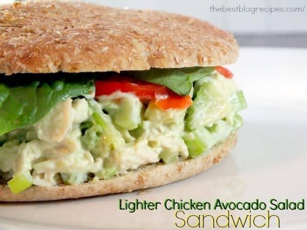 Lighter Chicken Avocado Salad Sandwich