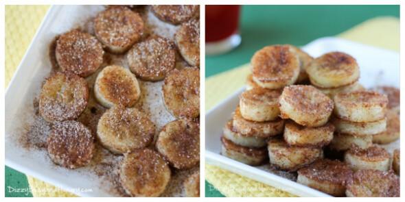 pan fried cinnamon bananas collage