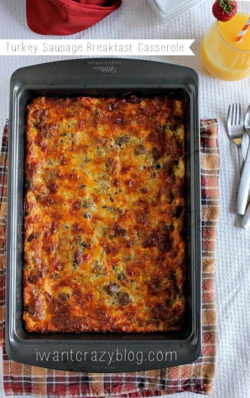Turkey Sausage Breakfast Casserole from I Want Crazy | The Best Blog Recipes Casserole Recipe Round Up