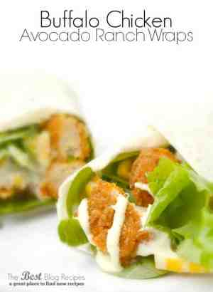 Buffalo Chicken Avocado Ranch Wraps is an easy meal ready in 15 minutes or less! thebestblogrecipes.com #dinner #chicken