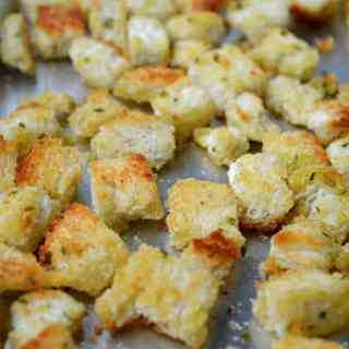 Easy Homemade Parmesan Garlic Croutons