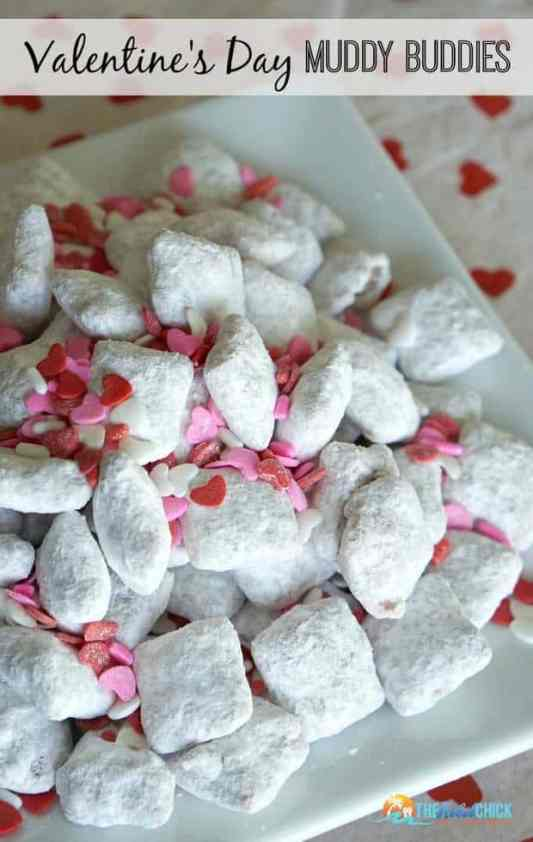 Valentine Muddy Buddies featured on 30 Valentine's Day Recipes from The Best Blog Recipes