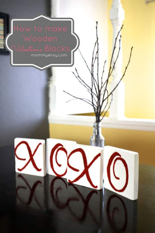 Valentines XOXO Blocks featured on 25 Valentine's Day Crafts from The Best Blog Recipes