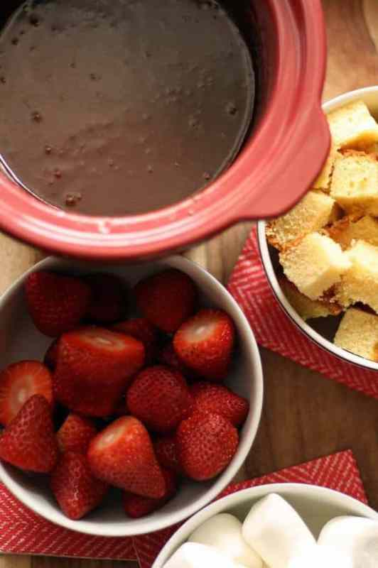 Slow Cooker Chocolate Fondue featured on 30 Valentine's Day Recipes from The Best Blog Recipes