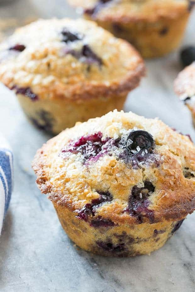 THESE HEALTHY BLUEBERRY MUFFINS ARE MADE WITH WHOLE WHEAT FLOUR AND OATMEAL FOR ADDED NUTRITION, BUT THEY STILL TASTE AS GOOD AS THE ORIGINAL RECIPE!