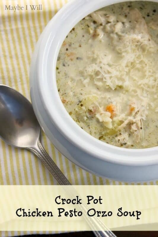 Chicken Pesto Orzo Soup featured on 45 Healthier Recipes from The Best Blog Recipes