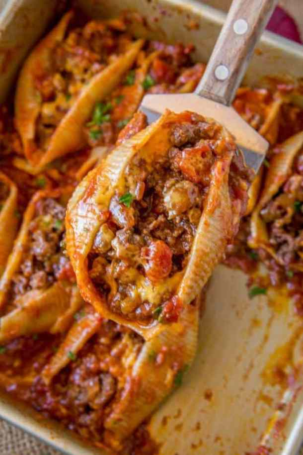 Cheesy Taco Stuffed Shells--Part of The Best Pull Stuffed Shells Recipes