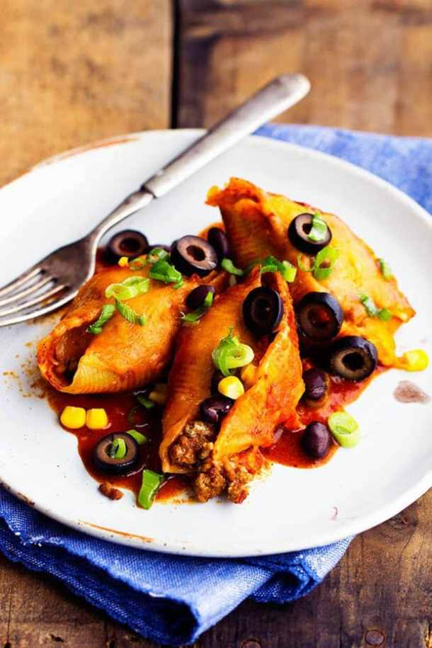 Three Cheese Mexican Shells--Part of The Best Pull Stuffed Shells Recipes