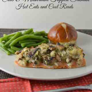 Crab and Mushroom Topped Baked Salmon