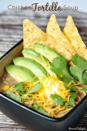 This Chicken Tortilla Soup has just the right amount of seasonings and makes the perfect hot and delicious soup!   Featured on The Best Blog Recipes