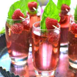 Raspberry Basil Champagne Spritzers