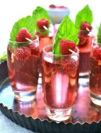 Raspberry Basil Champagne Spritzers