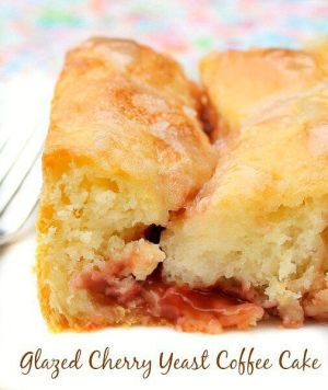 This Glazed Cherry Yeast Coffee Cake is a good recipe to break the ice if you're not an experienced yeast baker.Plus, it makes a very tender, light cake! | Featured on The Best Blog Recipes