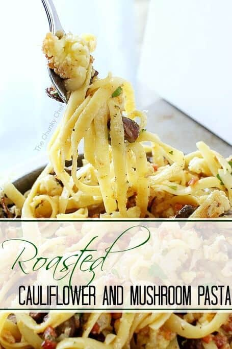 An instant fave - Roasted Cauliflower and Mushroom Pasta recipe. The flavor of the roasted cauliflower and mushrooms make it restaurant quality! | Featured on The Best Blog Recipes