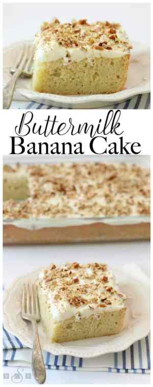 BUTTERMILK BANANA CAKE w/ Cream Cheese Frosting | Featured on www.thebestblogrecipes.com