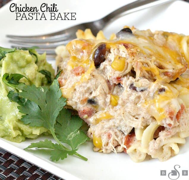 Kick a simple Chicken Chili recipe up a notch by adding some pasta and cheese!