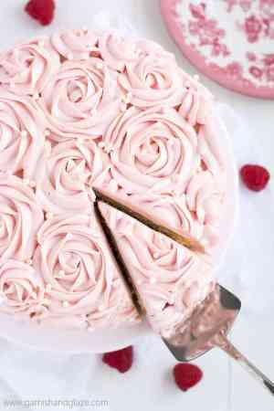 RASPBERRY ROSE CAKE -- is made up of two tender white cakes with sweet raspberry jam sandwiched between! | Featured on www.thebestblogrecipes.com