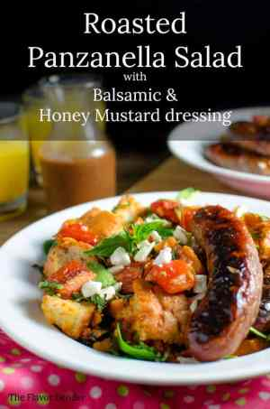 Roasted Panzanella Salad with Balsamic Honey Mustard Dressing -- is ridiculously tasty. Warm, comforting, healthy and delicious all at the same time, it's almost too good to be true. Almost!