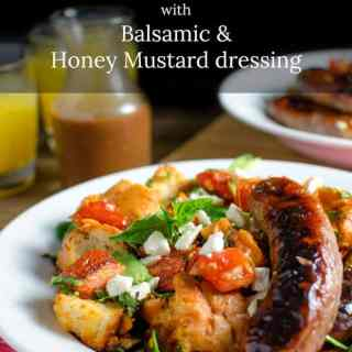 Roasted Panzanella Salad with Balsamic Honey Mustard Dressing