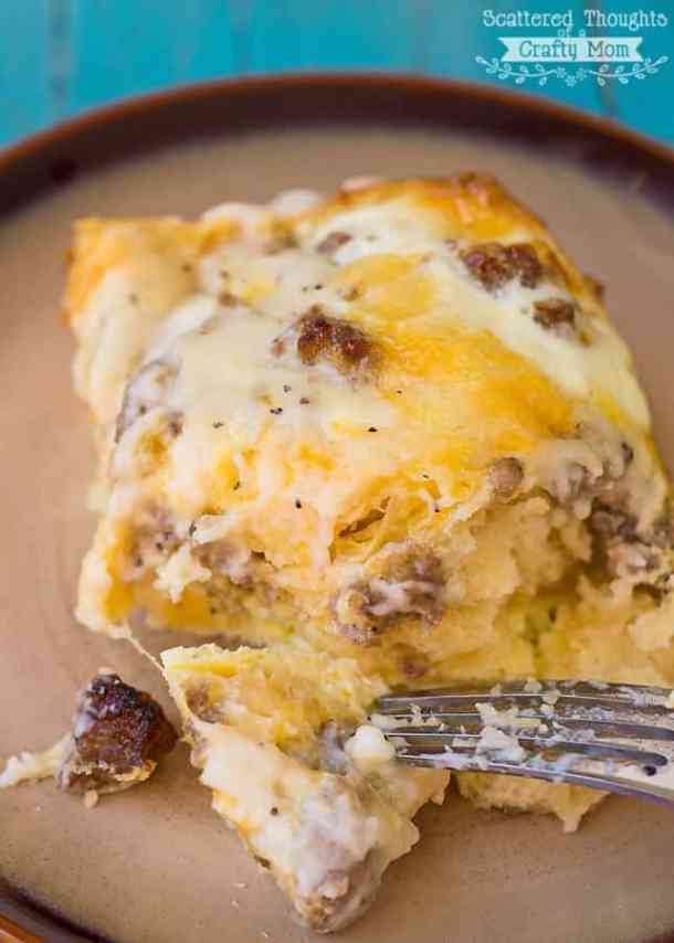 Sausage and Gravy Breakfast Casserole -- part of Cheesy Breakfast Recipes PERFECT for Saturday Mornings