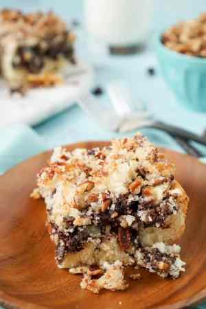 MOCHA NUT COFFEE CAKE -- is a simple breakfast cake with a mocha swirl and topped with a sugary nut mixture. | Featured on www.thebestblogrecipes.com