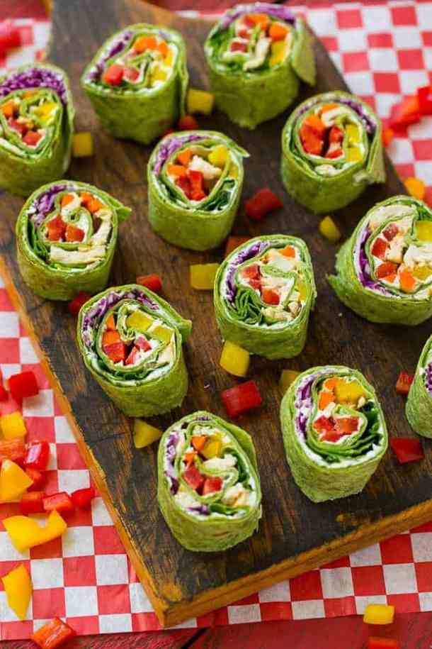 Rainbow Veggie Pinwheels -- part of The Best Pinwheel Recipes