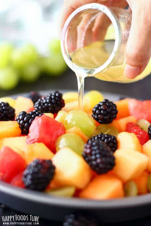 This fresh fruit salad with coconut honey dressing is a refreshing and easy summer dessert. Selection of fruits is dressed with easy flavorful syrup!