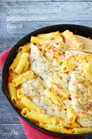 Creamy Roasted Red Pepper Chicken Pasta is my new obsession! This restaurant quality dish is attributed to the flavorful, creamy and cheesy roasted red pepper sauce.