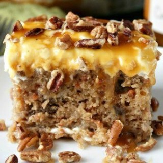 Sea Salt Caramel Carrot Cake Poke Cake