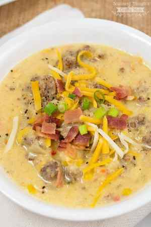 This Crock Pot Corn and Sausage Chowder recipe definitely fits the bill- creamy and loaded with delicious sausage and vegetables, it will make your family(and their tummies) very happy!