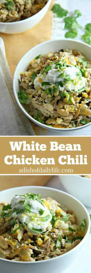 White Bean Chicken Chili is a healthy and delicious easy weeknight meal, but it's also perfect for game day. Guaranteed to be a hit with kids and adults alike!