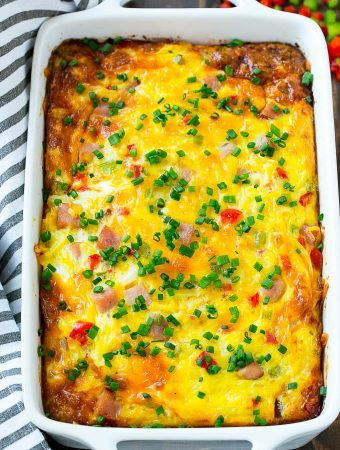 This Hash Brown Egg Casserole is full of ham, veggies and cheese, all baked to perfection, the best breakfast option for special occasion!